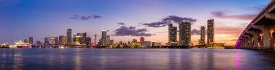 Fototapet Miami stadens silhuett panorama skymning