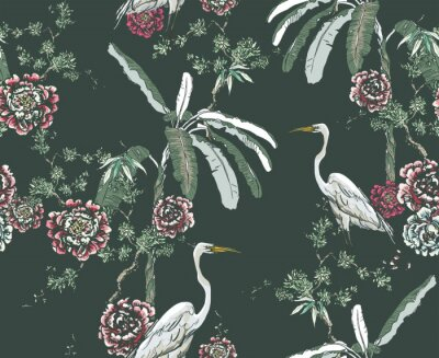 Fototapet Midnight Chinoiserie Floral Seamless Pattern, White Cranes in Palms and Roses on Dark Background, Chinese Wallpaper Design Flower Plants Jungle Forest, Tropical Birds