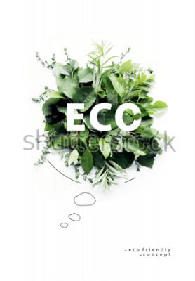 Fototapet Miljövänlig planet Poster.Symbolisk talande bubbla, gjord av grönt gräs och grenar. Minimal naturkoncept. Naturtalande Tänk Green. Ekologi Koncept. Plattläcka. Toppvy.