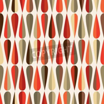 Fototapet Mitten av århundradet modern stil retro seamless med drop former i olika färgtoner, abstrakt upprepande bakgrund för alla webb och utskriftsändamål.