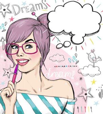 Fototapet Mode flicka med pennan i handen med anförande bubbla