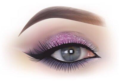 Fototapet Mode kvinna ögonmakeup - detaljerad realistisk illustration, vektor