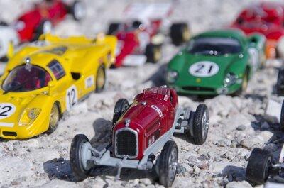 Fototapet Modeller av en klassisk bilar i solen