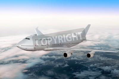 Fototapet Modern flygplan över molnen.