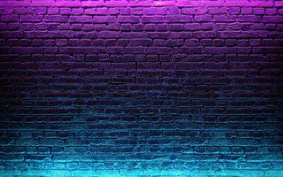 Fototapet Modern futuristic neon lights on old grunge brick wall room background. 3d rendering