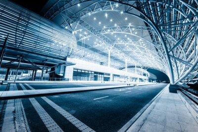 Fototapet modern järnvägsstationen i natt