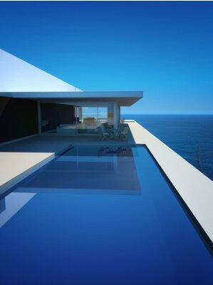 Fototapet Modern lyx Loft / lägenhet med havsutsikt + Infinity Pool