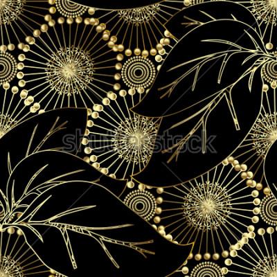 Fototapet Modern otnate blommig vektor 3d sömlöst mönster. Abstrakt dekorativ blom bakgrund. Vackra guld 3d maskrosblommor, stora löv, vintage dekorativa prydnad. Ytans ändlös struktur.