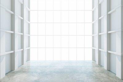Fototapet Modern tomt rum med stora fönster