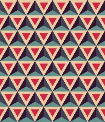 Fototapet Modern vektor seamless färgrik geometri mönster, 3D trianglar, färg röd blå, abstrakt geometrisk bakgrund, trendig färgad tryck, retro textur, hipster modedesign