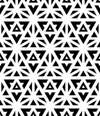 Fototapet Modern vektor sömlösa mönster sakral geometri, svartvitt textiltryck, abstrakt struktur, monokrom modedesign