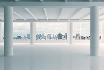 Fototapet Modern vit hangar område med utsikt över staden
