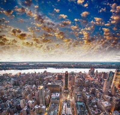 Fototapet Moderna stadens skyskrapor och horisont