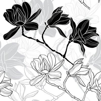 Fototapet Monokrom sömlös bakgrund med magnolia.