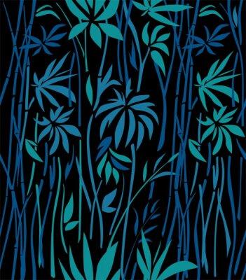 Fototapet Mönster av bambu tjocklekar av smaragdbladen och blåa grenar på en svart bakgrund