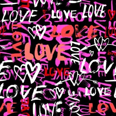 Fototapet Mönster med handmålade ord kärlek
