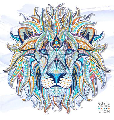 Fototapet Mönstrad chef för lejon på grungebakgrund. Afrikansk / indiska / totem / tatuering design. Den kan användas för konstruktion av en t-shirt, väska, vykort, en affisch och så vidare.
