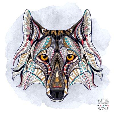 Fototapet Mönstrad chef för vargen på grungebakgrund. Afrikansk / indiska / totem / tatuering design. Den kan användas för konstruktion av en t-shirt, väska, vykort, en affisch och så vidare.
