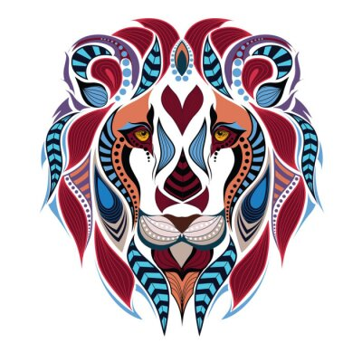 Fototapet Mönstrad färgad chef för lejon. Afrikansk / indiska / totem / tatuering design. Den kan användas för konstruktion av en t-shirt, väska, vykort och affischer.