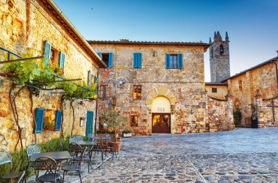 Fototapet Monteriggioni gamla historiska torget, Italien.