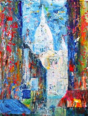 Fototapet Montmartre gata i Paris, Frankrike målad av akryl