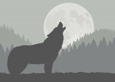 Fototapet moon Wolf