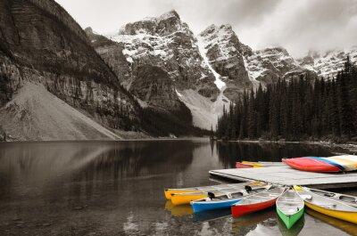 Fototapet Moraine Lake båt
