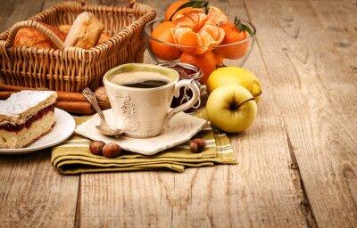 Fototapet Morgon frukost med kaffe och frukt