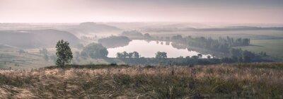 Fototapet Morgondimman och sjön