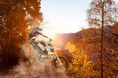 Fototapet motocross vid solnedgången