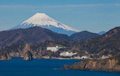 Fototapet Mountain Fuji och havet från Izu stad Shizuoka Prefecture, Japan.