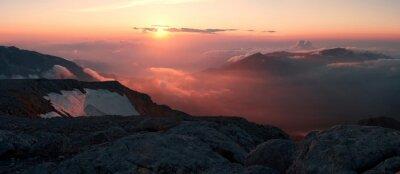 Fototapet Mountain solnedgång sommar