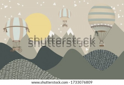 Fototapet mountains and hot air balloons child room wallpaper