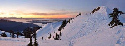 Fototapet Mt. Seymour första pumpen Peak vinter soluppgång, Vancouve