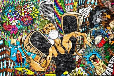 Fototapet Musik collage på en stor tegelvägg, graffiti