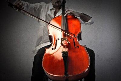 Fototapet Musiker spelar en violoncello