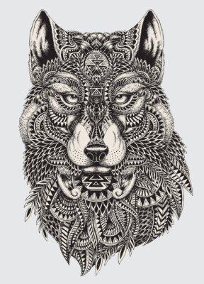 Fototapet Mycket detaljerade abstrakt wolf illustration