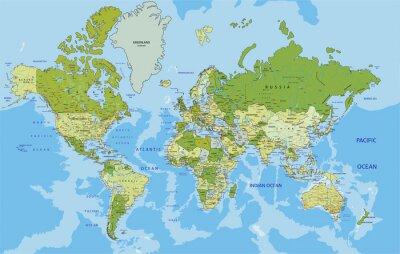 Fototapet Mycket detaljerade politiska Världskarta med märkning.