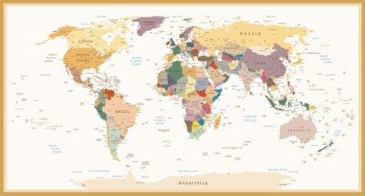 Fototapet Mycket detaljerade politiska World Map Vintage Färger