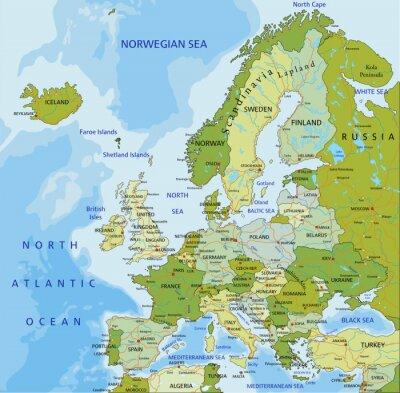 Fototapet Mycket detaljerade redigerbar politiska kartan. Europa.