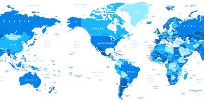 Fototapet Mycket detaljerade vektor illustration av världskartan. Bild innehåller landkonturer, land och landnamn, stadsnamn, vatten objektnamn.