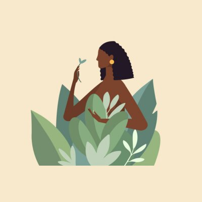 Fototapet Naked beautiful young woman in big leaves with dark skin and hair. African American girl keep organic green plant. Concept of natural cosmetics for body care and beauty. Illustration in flat design
