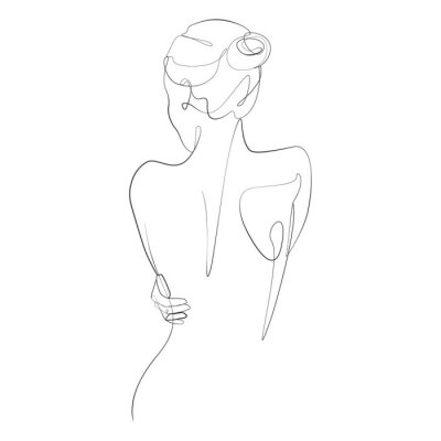 Fototapet Naked woman standing back one line drawing on white isolated background. Vector illustration