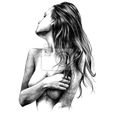 Fototapet naken flicka utgör skiss vektor grafik monokrom svart och vitt teckning