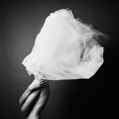 Fototapet Naken kvinna i elegant turban