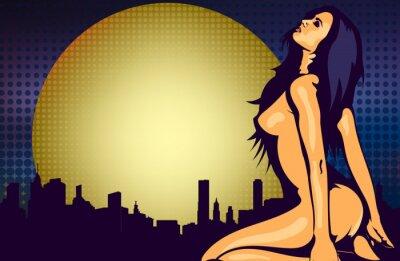 Fototapet Naken kvinna i närheten av fönster med natten utsikt över staden, design vektor mall