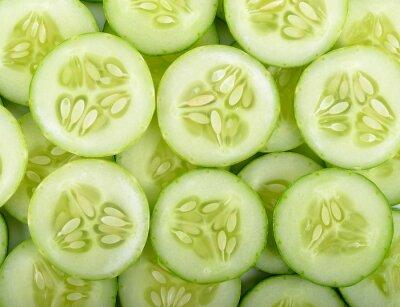 Fototapet Närbild gurka skiva bakgrund textur