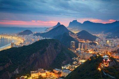 Fototapet Natt bild av Rio de Janeiro, Brasilien