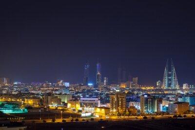Fototapet Natthorisont av Manama, huvudstaden i Bahrain