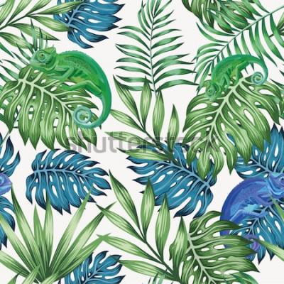 Fototapet Natur kameleont exotiska blå och gröna tropiska blad sömlösa mönster på vit bakgrund